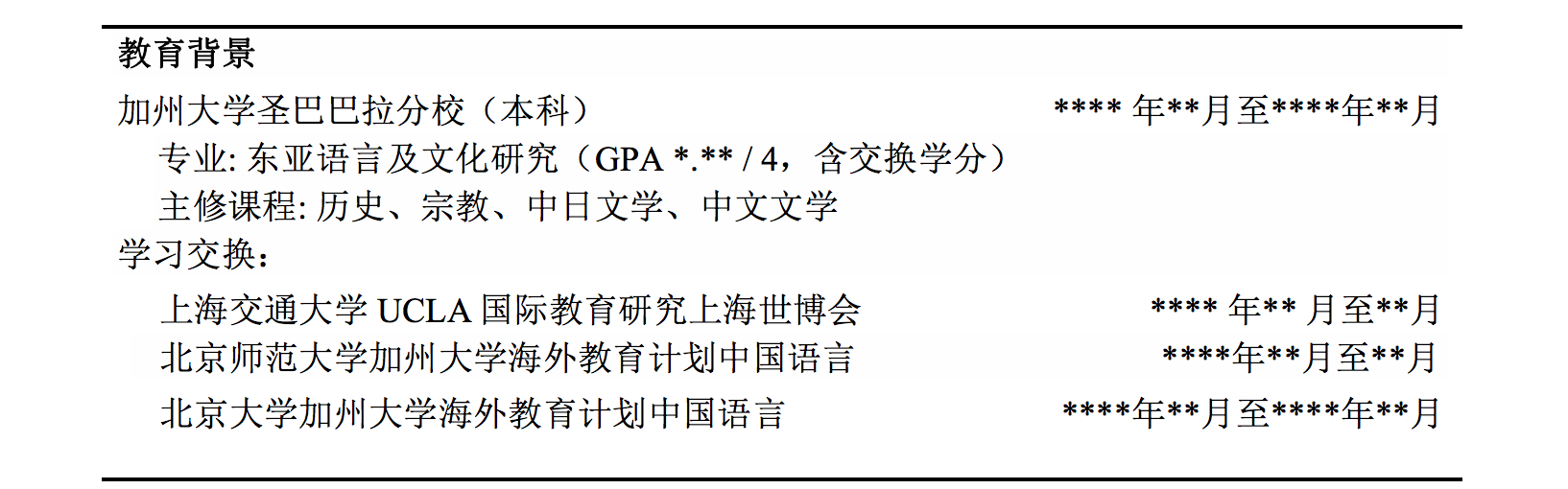 how to write a chinese resume