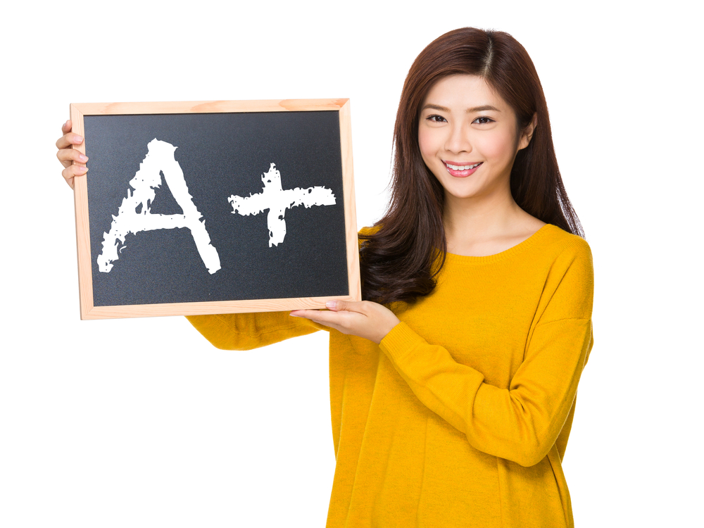 Young woman hand hold with the blackboard showing A plus mark